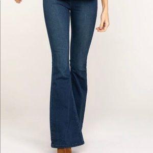Free People Women's Dark Wash Flare Jeans